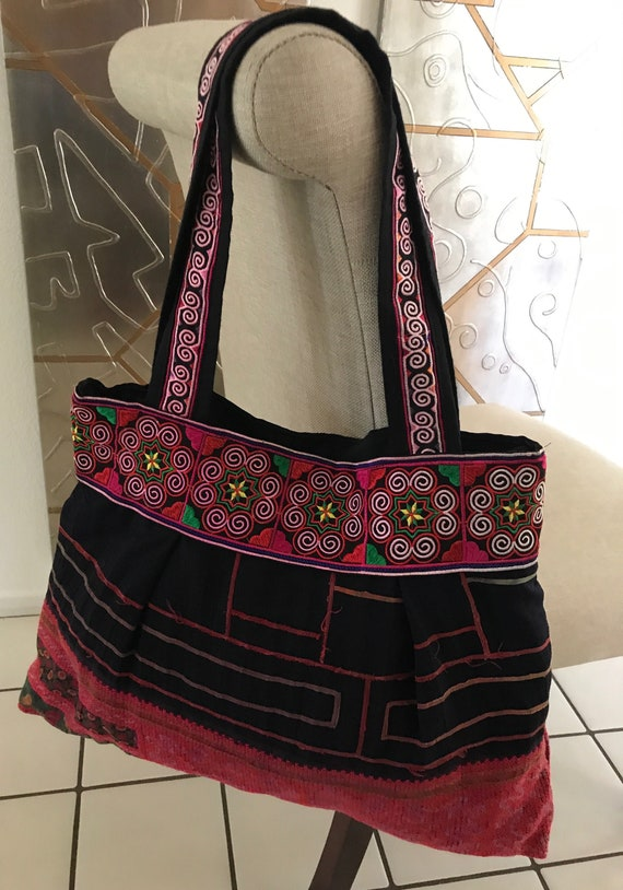 Beautiful Pink and Black Embroidered Vintage Fabri