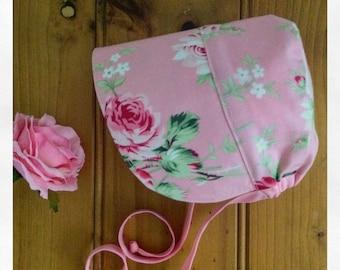 Pretty baby bonnet, handmade baby girl sun hat, pink baby hat,