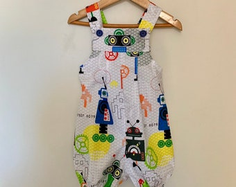 Playful Lions,Handmade Size 00,0 and 1 baby boys Shortalls Baby Boys Overalls
