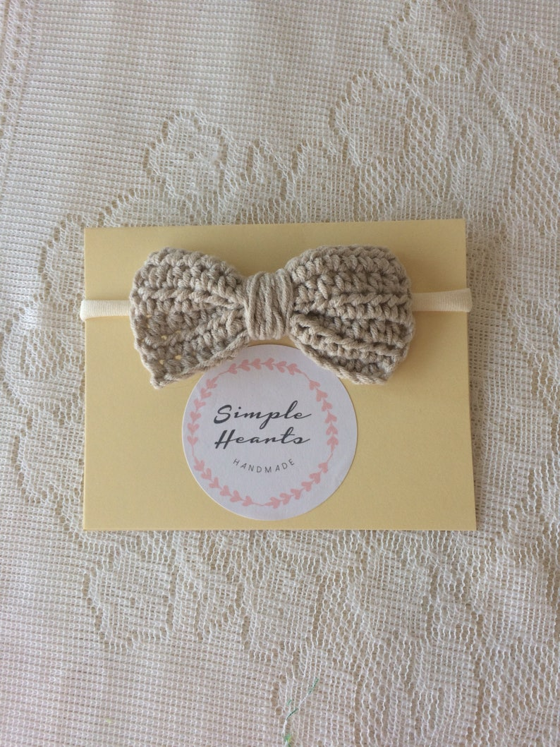 Cute crocheted headband cute bow headband Handmade stone beige coloured cotton crocheted  bow. baby girls bow headband