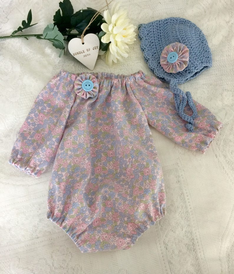 handmade baby girl outfit,pretty floral cotton fabric pretty Girls playsuit size 0-3 months Long sleeve romper and crocheted bonnet