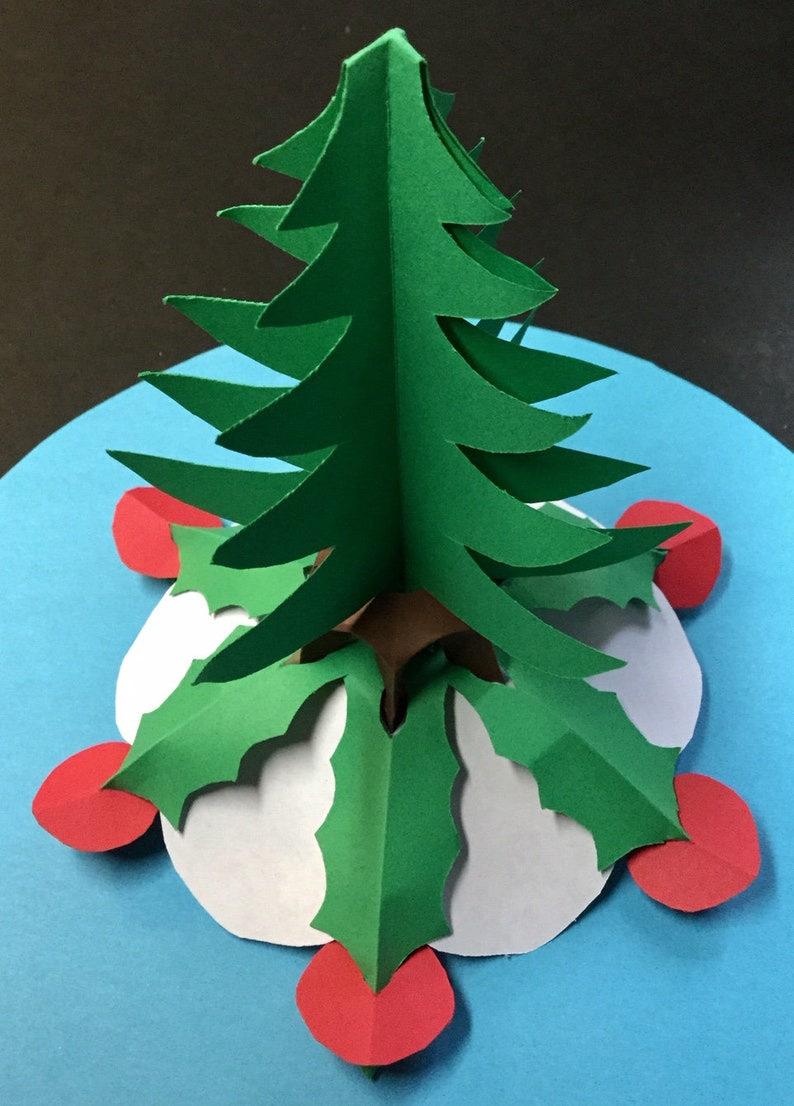 3d Paper Christmas Tree Template.Small 3d Christmas Tree With Angel Topper