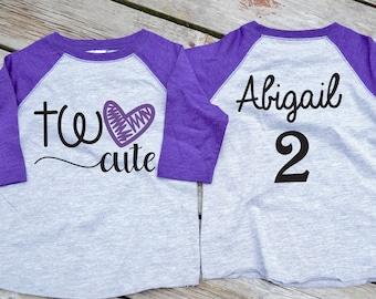 Two Cute Personalized Birthday Raglan Shirt