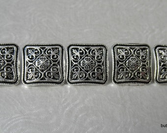 5 Square Antique Silver Carved Flower and Hearts Pattern Shank Buttons - 13mm