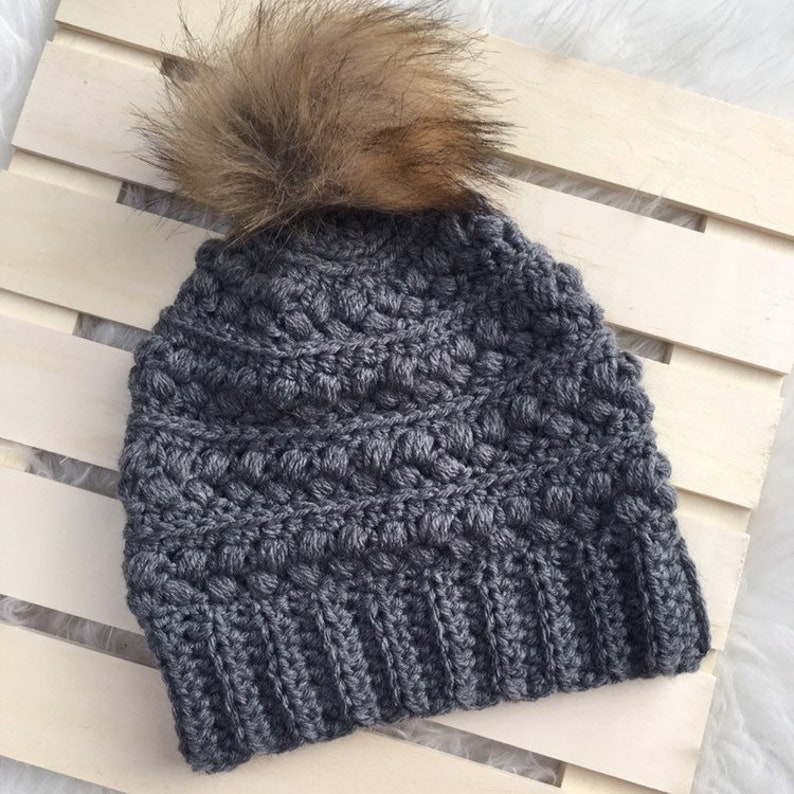e6fe283b98 Crocheted Winter Hat- Beanie- Touque- Handmade Cold Weather Accessory-  Women's- Child- Toddler- Medium Grey- Fur Pom Pom