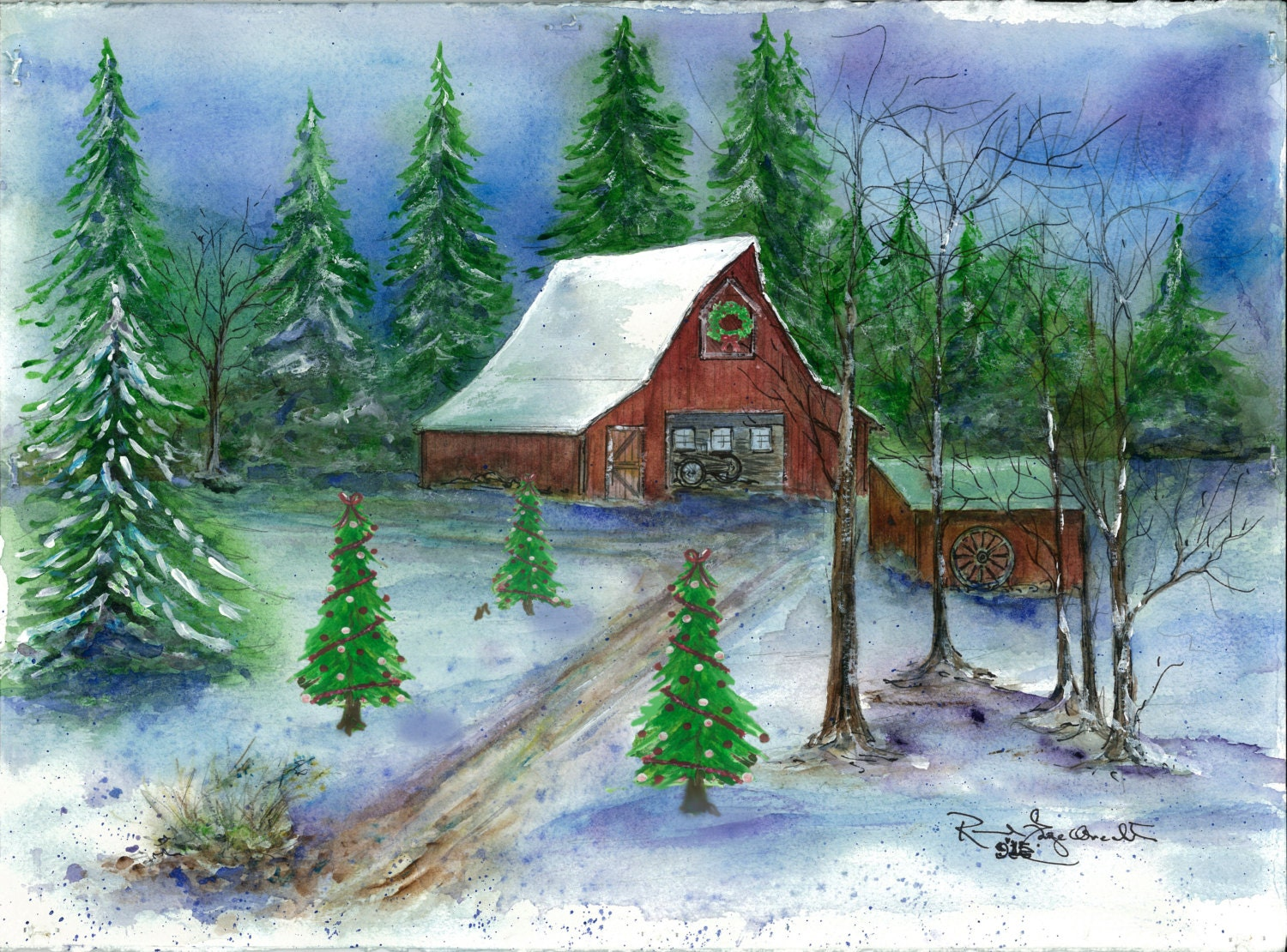 Winter on the Farm 1. Set of 8 Old Barn Christmas Cards | Etsy