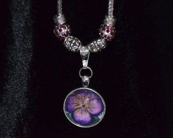 Purple Pansy Pendant Necklace