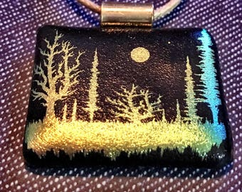 Enchanted Forest Dichroic Glass Pendant
