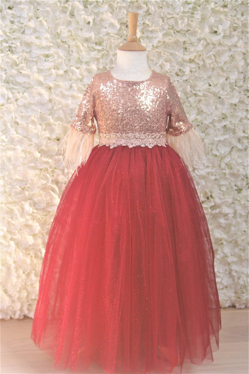 69cd6b9f12f Rose gold and Burgundy Flower girl dress Sequin Wedding Party