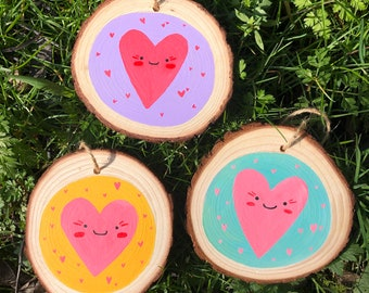 Happy Heart Wood Slice - Wooden Art Painting Character Illustration - Wall Art Gift