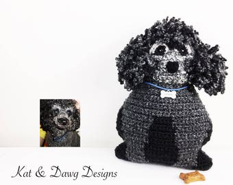 Custom French Poodle, Crochet look alike Dog Pillow, Pet Portrait Pillow, Personalized Dog Gift, Pet Memorial, New Pet Owner, Pet Loss Gift