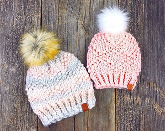 bb57b4bb6c7 Custom knitted Pom Pom hat Adult knitted beanie Knitted hat for  women wonans knitted hat Christmas knitted hat  Pick your own colours hat.