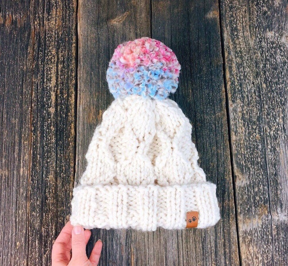 5dc3ea44d34 Unicorn rainbow Pom Pom hat   knitted womans toque   Christmas
