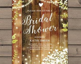 Rustic Bridal Shower Invitation Baby's breath Bridal shower invitation Wood String lights Garden Tea shower Babys breath Digital PRINTABLE