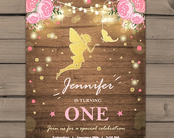 Fairy Birthday Invitation Fairy Party Gold glitter Pink Invitation Girl Birthday Invitation Whimsical 1st Birthday Magical PRINTABLE ANY AGE
