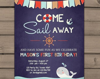 Sailor birthday invitation Sailor party invitation Come Sail away invitation Nautical birthday Boy Navy and Red Digital PRINTABLE ANY AGE