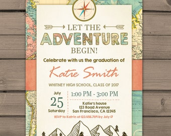 Graduation invitation Adventure Begin Vintage map Places you go Adventure awaits Class of 2017 Adventure invite Travel PRINTABLE ANY AGE ad