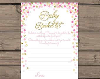 Baby shower Baby Bucket List game Instant download Pink and Gold baby shower Gold glitter confetti baby shower game PRINTABLE bsc