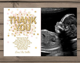 Baby shower Thank you cards Pink Gold confetti Baby Shower Thank you insert Confetti thank you card Girl baby shower Pink PRINTABLE Digital