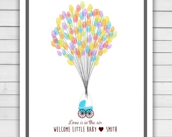 Printable Baby shower guestbook thumbprint guest book baby shower fingerprint baby shower thumbprint balloons baby shower balloons PRINTABLE