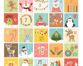 Christmas Advent Calendar Tags Christmas countdown Calendar cards Children Classroom Nursery download Gift tags favor tags PRINTABLE Digital
