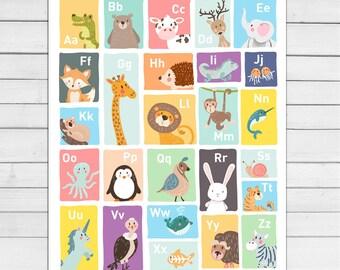 Alphabet wall art Alphabet animals Alphabet art Alphabet poster Alphabet wall decal ABC poster Nursery decor Digital PRINTABLE 16x20
