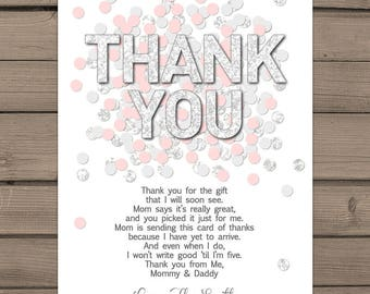Baby shower Thank you cards Pink Silver confetti Baby Shower Thank you insert Confetti thank you card Girl baby shower Pink Grey PRINTABLE