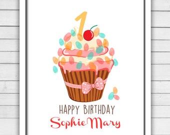 Birthday guestbook Cupcake First birthday thumbprint 1st Birthday guest book Sprinkles guestbook fingerprint Love is sweet Digital PRINTABLE
