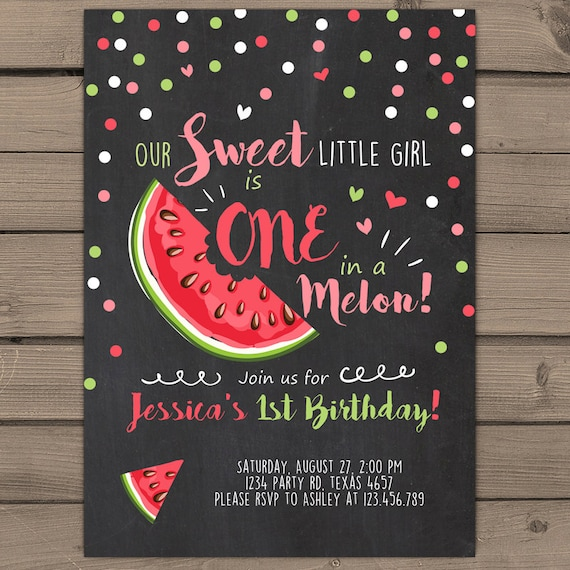 Items Similar To Watermelon Birthday Invitation One In A