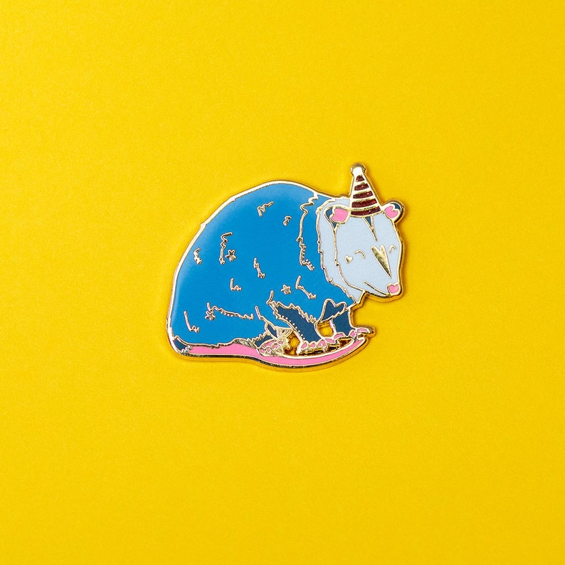 Cloisonne Flair Party Opossum Enamel Pin with Rubber Clasp  Hard Enamel Accesories
