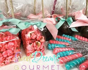 Mini Popcorn Bags, Candy Apples, & Bling Lollipop Party Favor Package