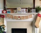 Gnome Swedish burlap banner. GOD JUL Nordic burlap garland. Christmas mantelpiece bunting. Xmas banner red decoration.