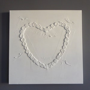 Modern Minimalist Heart Shaped White Canvas Art White Painting 24 x 24 Ready To Hang Art Wall Hanging Collage White Is A Snow Heart