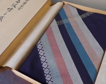 "VINTAGE Beautiful Japanese Silk Furoshiki , "" Hakata Ori "" Quality Made , Dark Blue / Purple Color , Wrapping Cloth with Wooden Box , Gift"