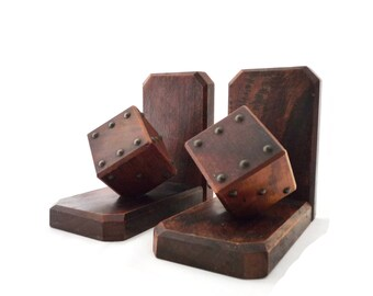 FRENCH VINTAGE 1950u0027s , Beautiful Wooden Bookends , Book Stops , Book  Holders , Shape Of Dice , Great Shape U0026 Patina , Desk / Office Decor