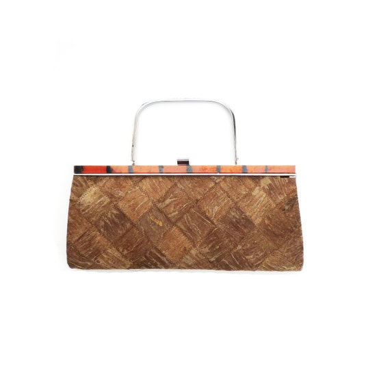 VINTAGE 1940's, Parche de cuero raro, bolso de mano bolso, embrague, bolsa lateral, sólido, bolso de dama pequeña con hardware de metal, colector