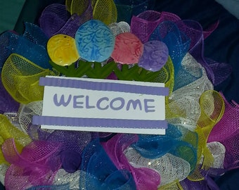 Purple welcome spring wreath