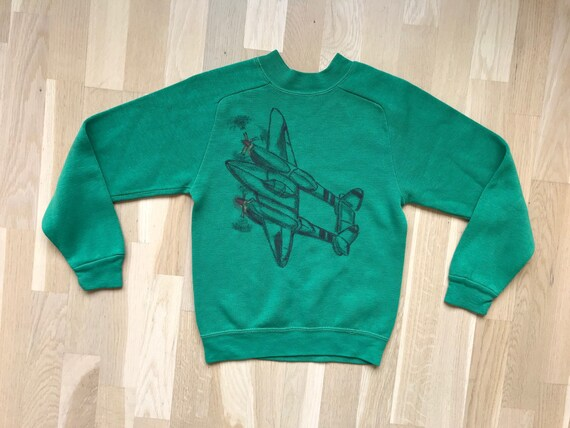 Vintage 1950s 1960s Airplane Sweater Sweatshirt vi