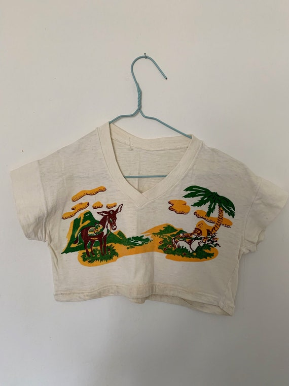 Vintage 1950s T Shirt Novelty Mexicsan Print Cropp