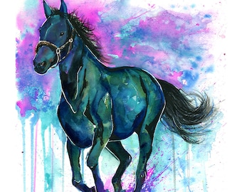 HORSE PRINT | Horse Painting | Horse Art | Horse Watercolor | Horse Lover | Gift for Girlfriend | Colorful Horse | Baby Shower Gift