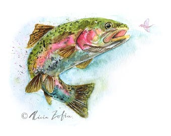 RAINBOW TROUT PRINT | Fish Painting | Birthday Gift | Fisherman Gift | Gift for Boyfriend | Gift for Men | Gift for Him | Fish Art