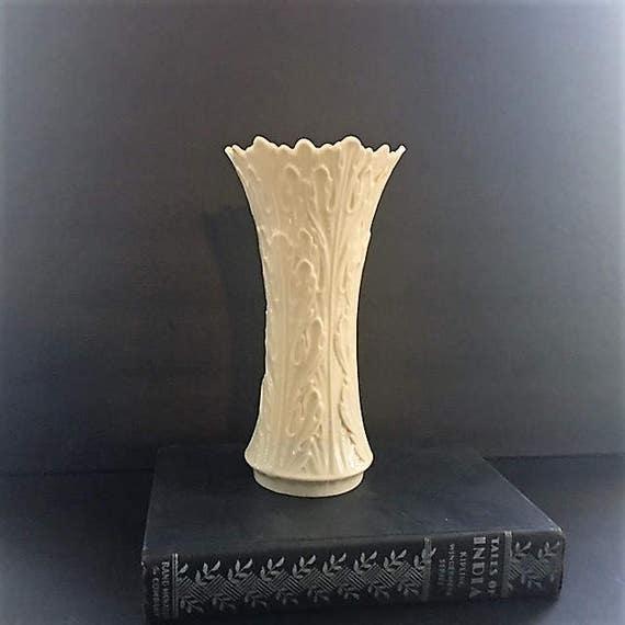 Vintage Lenox Vase Sculptured Leaf Pattern Woodlawn Cream