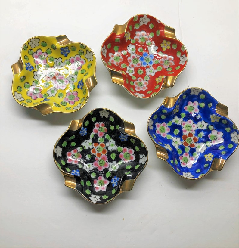 Red Blue and Black Perfect Size for Jewelry Vintage Ceramic China Trinket Dishes Set of Four Floral Stacking Dishes in Yellow