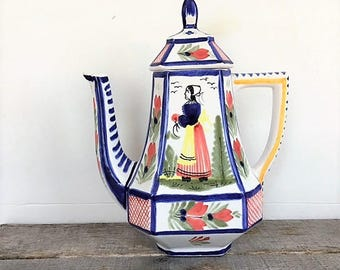 Vintage HB Quimper Coffee Pot Mistral Blue Octagonal Lady 8 Cup Ceramic Coffee Pot Faience Folk Art