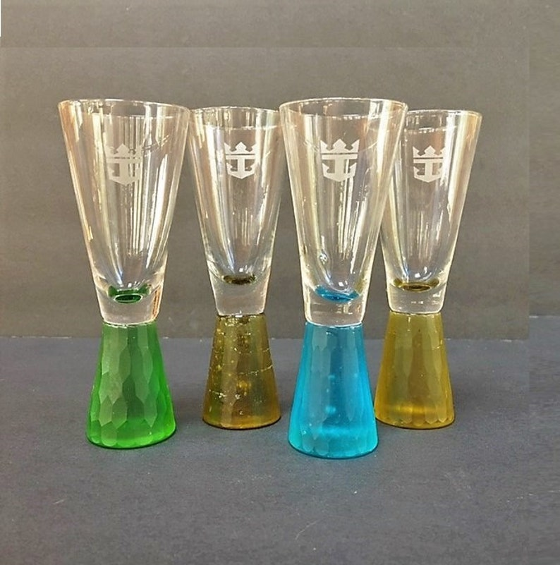 Vintage Royal Caribbean Cruise Shot Glasses Colorful Frosted Glass Base Fun  Barware