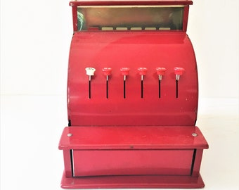 Vintage Red Metal Toy Cash Register Working Mechanical  Cha-ching Sound, Draw Opens, Numbers Pop-up Rare One Line of Buttons