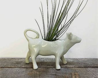 Vintage Porcelain Cow Creamer Culinaire White by Pillivuyt France Mid Century Whimsical Succulent Planter