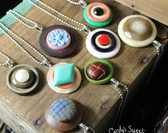 Assorted Layered Button Charm Necklaces