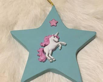 Unicorn on Star Ornament #1