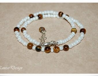 short necklace Tigereye  necklace gemstone beads necklace collier